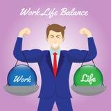 垂悬在商人的胳膊的工作生活平衡水晶球 向量例证