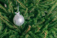垂悬在圣诞树的白色玻璃球 免版税库存照片