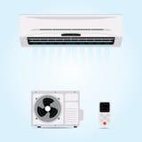 垂悬在墙壁上的空调器 库存例证