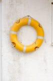 垂悬在墙壁上的Lifebuoy 库存图片