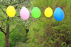 垂悬在庭院,春天里的五颜六色的气球 库存图片