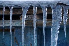垂悬在木屋顶的许多冰柱 免版税图库摄影
