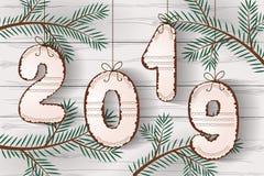 垂悬在树枝的圣诞节曲奇饼 库存例证