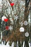 垂悬在树的圣诞节装饰在公园 心脏,雪花 库存图片