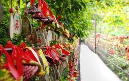 垂悬在桥梁是盼望爱的人民的心脏 免版税库存照片