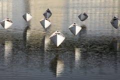 垂悬在水的柳条小船 免版税库存图片