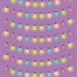 垂悬在淡紫色背景的手电电灯泡白炽被绘的明亮的萤光诗歌选导航例证 皇族释放例证