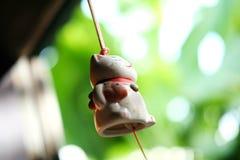 垂悬在窗口的日本幸运的猫玩偶 库存照片