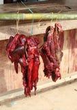 垂悬在竹棍子的野公猪 免版税库存图片