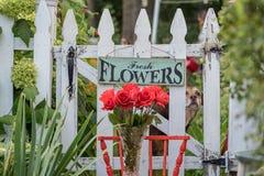 垂悬在篱芭的鲜花标志 免版税库存图片