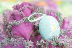 垂悬在紫色圆白菜的黄色复活节彩蛋,为传统蛋的猎人准备 免版税图库摄影