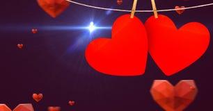 垂悬在线的心脏反对数位引起的背景 库存照片
