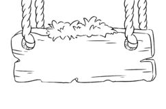 垂悬在绳索的木板 空的委员会剪影乱画 皇族释放例证