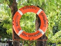 垂悬在罗望子树的受欢迎的圆红色救生圈 库存图片