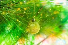 垂悬在自然绿色杉树分支,五彩纸屑光的金黄圣诞节球飘动,闪烁,明亮,拷贝空间,贺卡 免版税图库摄影