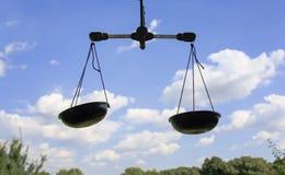 垂悬在蓝天背景的两个标度 免版税图库摄影