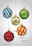 垂悬在金螺纹的圣诞节装饰品。 库存例证