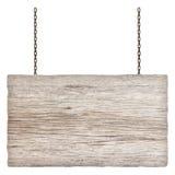 垂悬在链子的木标志隔绝在白色 免版税库存照片