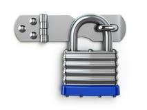 垂悬在锁铰链的挂锁 背景概念查出的证券白色 库存图片