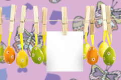 垂悬复活节彩蛋的综合图象 库存照片