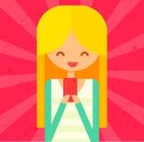 垂悬桃红色电话的愉快的白肤金发的女孩 平的传染媒介 库存图片