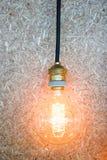 垂悬电灯泡的葡萄酒装饰在棕色墙壁上 免版税库存照片