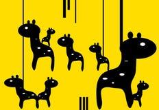 垂悬的可爱的黑长颈鹿瑞士样式背景例证动物 免版税库存照片