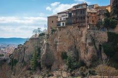 垂悬的房子在昆卡省,卡斯蒂利亚la Mancha,西班牙 库存照片