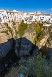 垂悬的房子在朗达,马拉加,西班牙 库存照片
