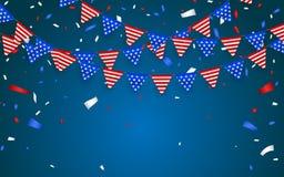 垂悬的旗布旗子美国假日 蓝色,白色和红色箔五彩纸屑 也corel凹道例证向量 向量例证