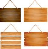 垂悬的木标志板 库存例证