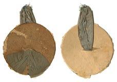 垂悬的样式的葡萄酒古色古香的老定象 织品和纸板 上勾的圈 免版税库存照片