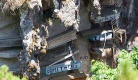垂悬的棺材Sagada,高山省,吕宋,菲律宾 库存图片