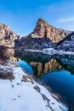 垂悬的湖足迹 库存照片