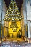 垂悬的灯在清真大寺在凯鲁万,突尼斯 库存照片