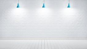 垂悬的灯对白色砖墙,3D回报图象 皇族释放例证