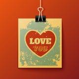垂悬的爱您减速火箭的卡片 库存图片