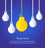 垂悬的电灯泡和白色电灯泡与空间 免版税库存图片