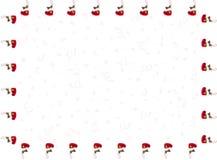 垂悬的袜子和背景的退色的五彩纸屑以图例解释者框架在外缘的 库存图片