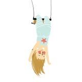 垂悬颠倒在杂技演员的一个独奏女孩的传染媒介例证摇摆 库存图片