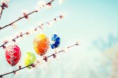 垂悬从一棵开花的苹果树的复活节彩蛋 免版税库存图片