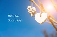 垂悬从树枝的白色葡萄酒心脏反对蓝天 题字你好春天 免版税库存照片