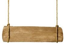 垂悬从绳索的木标志 免版税库存图片