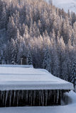 垂悬从积雪的瑞士山中的牧人小屋屋顶的icicicles行  免版税图库摄影