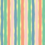 垂直的手拉的线无缝的传染媒介背景 桃红色珊瑚黄色青绿的块 抽象设计模式 纹理为 库存例证