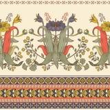垂直的无缝的样式,维多利亚女王时代的样式 葡萄酒花卉墙纸