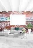 垂直的现代内部卧室或客厅有折衷墙壁的和空的框架的copyspace图画 3d翻译 库存图片