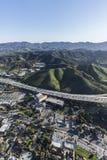 垂直的空中绍森欧克斯和101高速公路 免版税库存图片