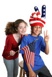 垂直美国的孩子 免版税库存图片
