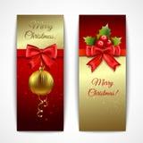垂直圣诞节的横幅 免版税库存图片